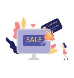 online shopping with credit vector image
