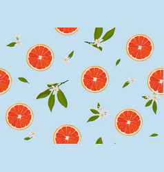 orange fruits slice seamless pattern with flowers vector image