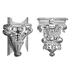 Ornamental brackets bronze vintage engraving vector