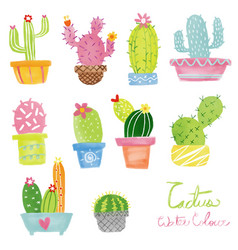 Pastel watercolor cactus set vector