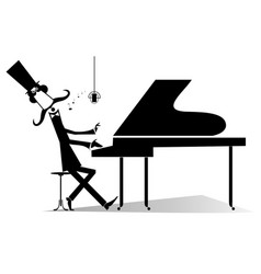 pianist original silhouette isolated vector image vector image