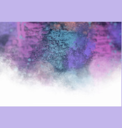 Pink cyan nebula smoky hand painted abstract vector
