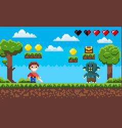 Pixel game hero fighting zombie landscape arcade vector
