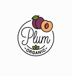 plum fruit logo round linear logo plum slice vector image
