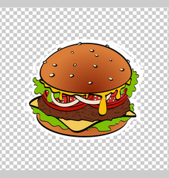 pop art retro burger vector image
