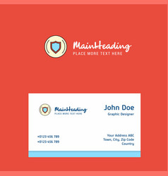 Protected sheild logo design with business card vector