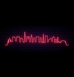 red neon skyline of tokyo city vector image