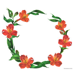 Romantic round wreath with red flowers vector