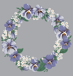 Round floral frame wreath with viola flowers vector