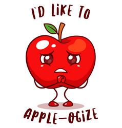 Sad apple fruit vector
