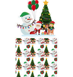 seamless background design with santa and snowman vector image