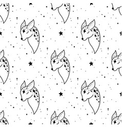 seamless pattern mystical deer with moon and stars vector image