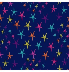 seamless pattern with colorful stars Endless blue vector image