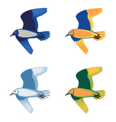 set colorful flying birds vector image