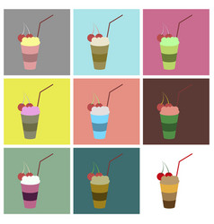 Set icons in flat design milkshake with cherry vector