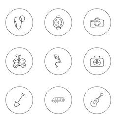 set of 9 editable camping icons includes symbols vector image