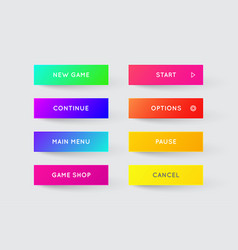 set of modern gradient app or game buttons trendy vector image