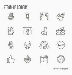 set of thin line icons on theme stand up vector image