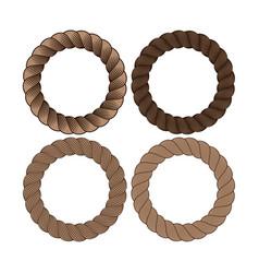 Set round black monochrome rope frame vector