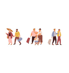 Set tourists traveling with luggage families vector