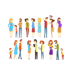 set young families cartoon people expecting vector image
