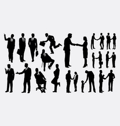 Shake hands businessman silhouettes vector
