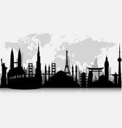 Silhouettes of famous world landmarks vector
