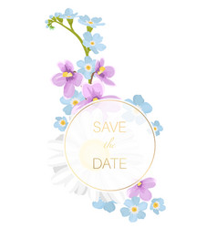 Spring flowers wedding event invitation card vector