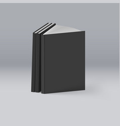 Stack of black books on deep background mockup vector