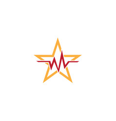 star heartbeat logo vector image