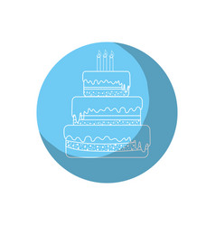 sticker delicious pastel with candles to happy vector image