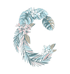 summer pattern hand drawn letter c palm leaves vector image