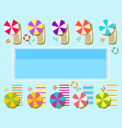 Swimming pool top view sunbeds and umbrellas vector