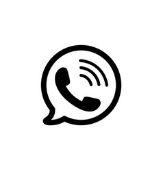 telephone icon black phone symbol in bubble vector image