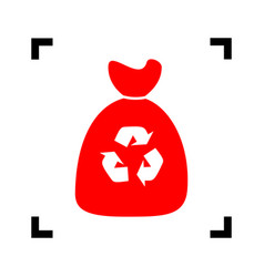 Trash bag icon red icon inside black vector