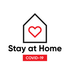 typography design logo stay at home covid-19 vector image