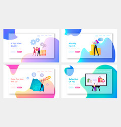 Upsell landing page template set tiny sellers vector