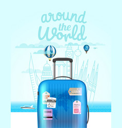 Vacation travelling composition with bag vector