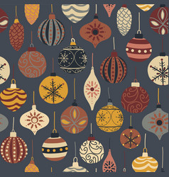 vintage christmas ornament seamless pattern vector image