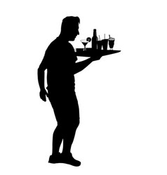 Waiter silhouette with the tray vector