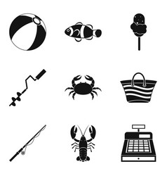 Water treatment icons set simple style vector