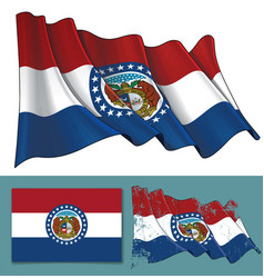 waving flag of the state of missouri vector image