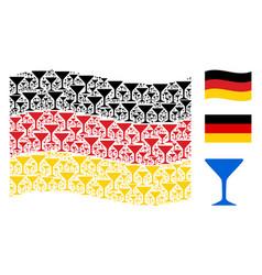 waving german flag mosaic of alcohol glass items vector image