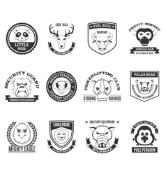 Wild Animal Black White Labels Set vector image