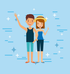 Young tourist couple vector