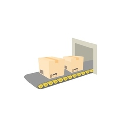 Conveyor belt with boxes icon cartoon style vector image