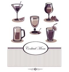 Drinks icons set purple menu vector image
