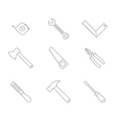 monochrome set with hand tools icons vector image