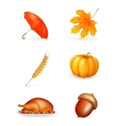 Autumn icon set vector image