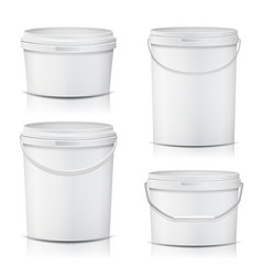 white bucket set container mock up product vector image